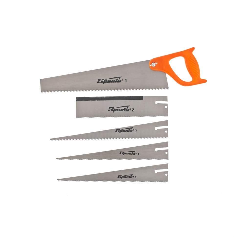 Ножовка по дереву, 350 мм, 5 сменных полотен, пластиковая рукоятка SPARTA (231255)